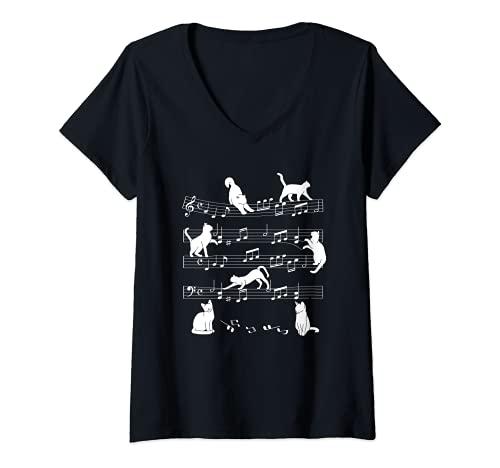 Mujer Spartito musicale per gatti Note musicali Cat Musical Notes Camiseta Cuello V