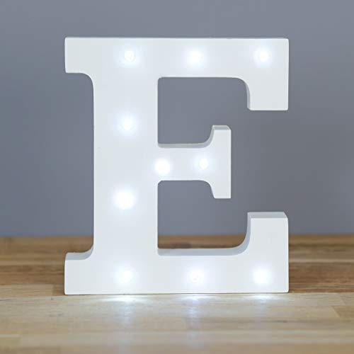 Up in Lights Decorative LED lettere bianche Wooden Sign - attaccatura di parete, alimentato a batteria - Lettera E
