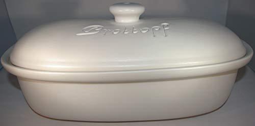 Töpferei Seifert Brottopf Weiss matt Gross 40 cm | Brotkasten | Brotbox | Brotdose | Brotbehälter | Steinzeug | LxB 41x25