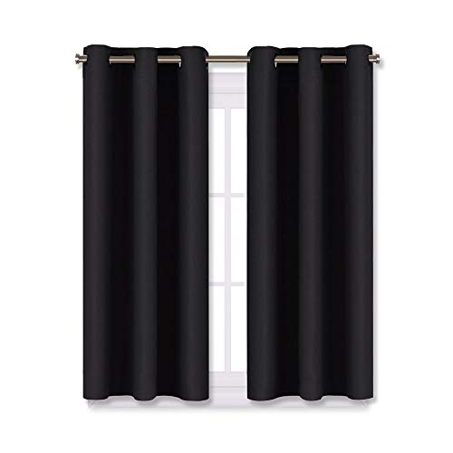 NICETOWN Living Room Blackout Curtains and Drapes, Black Solid Thermal Insulated Grommet Blackout Drapery Panels for Window (2 Panels, 29 inches Wide by 45 inches Long, Black)