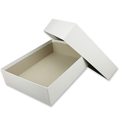 Hochwertige Aufbewahrungs- und Geschenkboxen - 1 Stück- DIN A4 - Weiß bezogen - 302 x 213 x 70 mm