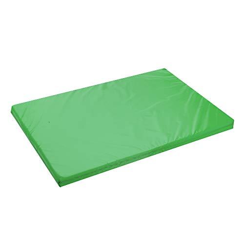 Cojín para cama de perro, alfombrilla suave, impermeable, aprobada por el FR para uso exterior, cama para mascotas, cama para mascotas (mediano – 90 x 60 x 5 cm, verde)