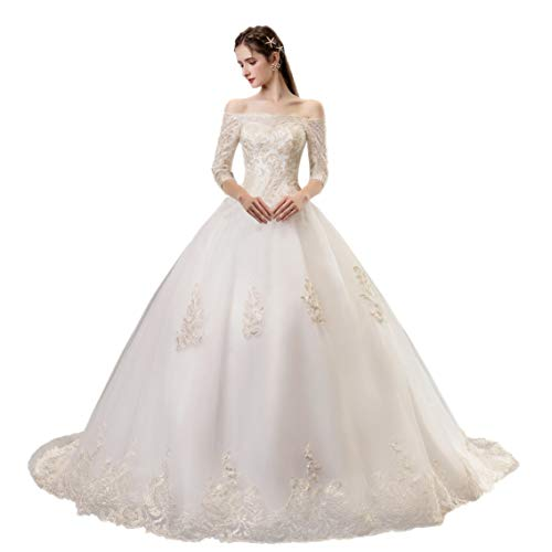 Off Shoulder 3/4 Sleeves Wedding Dresses for Women Trailing Bridal Wedding Gown Brides Bridesmaids Wedding Gown (2) White