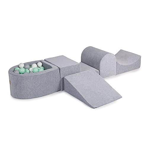 MEOWBABY Spielset mit Bällebad 200x45cm/100 Bälle Schaumspielblöcke Kinderzimmer Schaumspielset Schaummodul Spielplatz Spielzeug für Kinder Baby Made in EU Hellgrau: Mint/Grau/Weiß