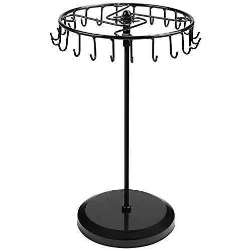BELLE VOUS Expositores de Bisuteria Metal Negro Giratorio (23 Ganchos) – 34,8 x 20,5 cm – Torre Colgador Collares, Brazaletes, Anillos y Pendientes - Cuelga Collares de Mesa