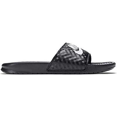 Nike Women's Benassi Just Do It Sandal, Black/White, 7 Regular US