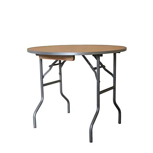 3' Foot Diameter Round Solid Birch Wood Folding Table - Heavy Duty 36' Top x 30' Height with Aluminum Edges