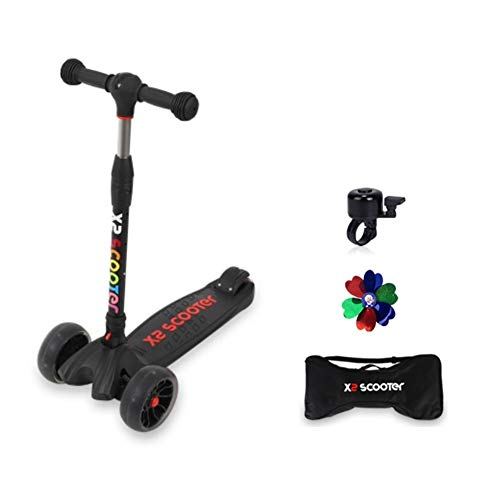 X2 Kids Kick Scooter | 3 Level Height Adjustable One Touch Folding LED Flashing Wide 3 Wheel Platform Multiple Colors for Toddler Boys Girls Children (Black)
