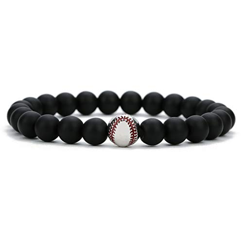 Linsoir Beads Trendy Baseball Bracelet Lava Stone/White Howlite/Matte Black Stone Beaded Bracelet Sports Jewelry for Boy Gift Jewelry 1 pc