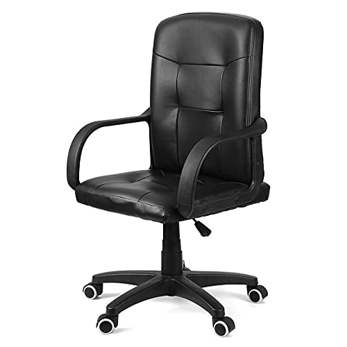 SuRose Sillas de juegos, silla de oficina reclinable, ajustable, giratoria, de piel sintética, para oficina, computadora, juegos, sillón con reposapiés para muebles para el hogar (color B50819)