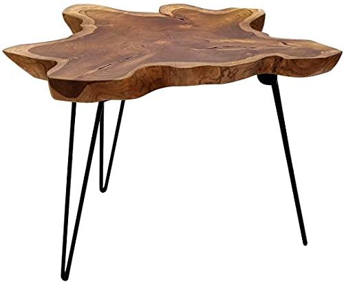 Brillibrum Design Couchtisch Teak Holz Metall einzigartige Teakholz Tischplatte massiv Teakholz Klapptisch robust platzsparend Wohnzimmertisch klappbar Beistelltisch 45cm Höhe