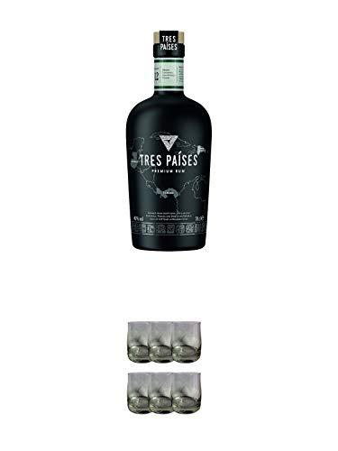 Tres Paises Rum Das Beste aus drei Welten 0,7 Liter + Tres Paises Rum Glas von Ritzenhoff 6 Stück