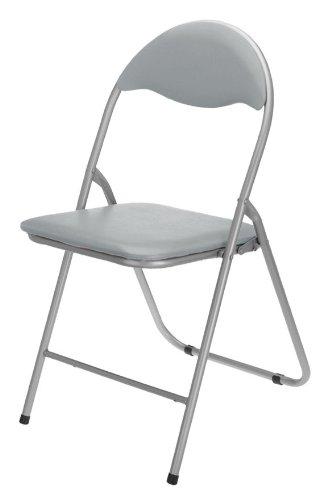 Spetebo Klappstuhl Metall - grau - mit Kunststoffpolster und Lehne