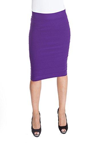 ESTEEZ Stretchy Pencil Skirt for Women Opaque Lightweight Slimfit Purple Grape Medium/Large