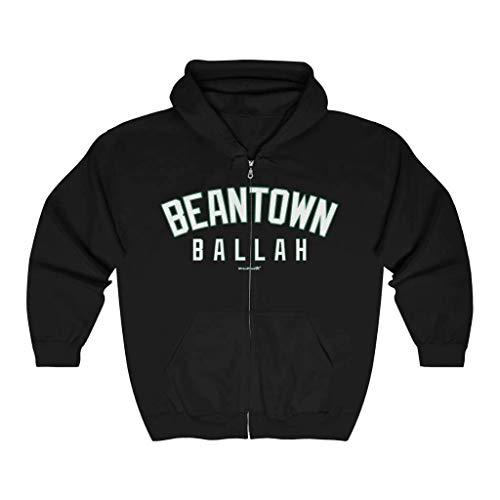 Unisex Outah-Wear Beantown Ballah White Letters Heavy Full Zip Hoodie image