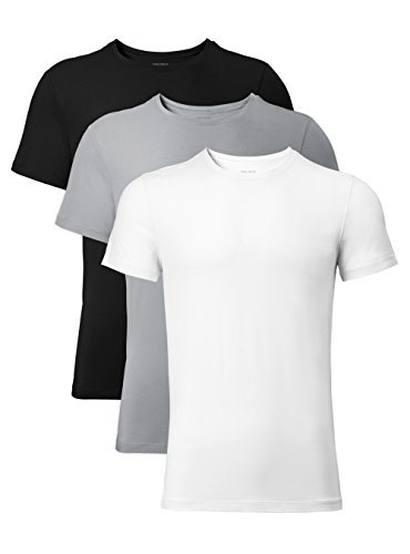 DAVID ARCHY Men's 3 Pack Soft Comfy Bamboo Rayon Undershirts Breathable Crew Neck Tees Short Sleeve T-Shirts (M, Black/White/Light Gray)