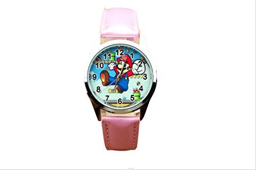 FENGHU Mario alarma Super Mario lindo niños de dibujos animados reloj de cuarzo estudiante casual cinturón reloj