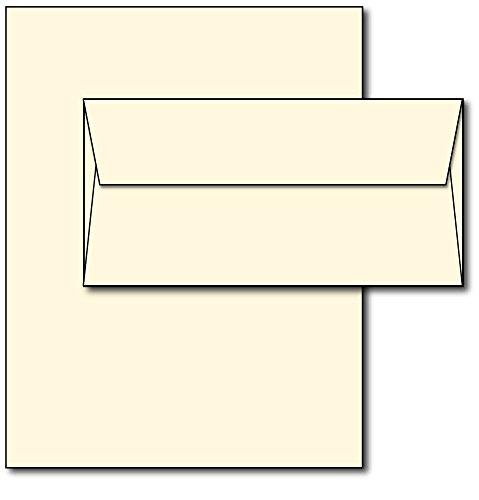 Blank Letterhead Paper & Envelopes - Off-White Natural Cream Color - 40 Sets - Unique Executive Size (7 x 10) Paper with Matching Envelopes