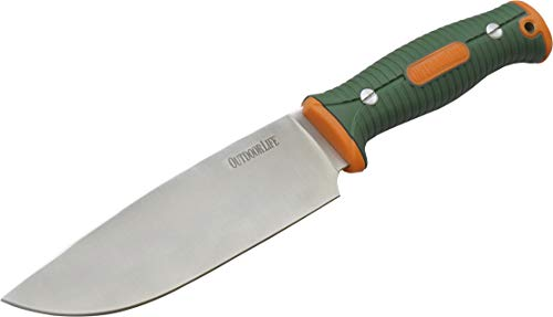 Outdoor Life Fixed Blade Camp Chef Knife – 6-inch Satin Finish Stainless Steel Blade with Orange and Green Dual Injection Molded Nylon Fiber Handle, Full Tang Construction, Rigid Nylon Fiber Sheath - Hunting, Camping, Cooking, Outdoors – OL-FIX002OGN