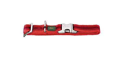HUNTER DAVAO ALU-STRONG Halsung, Halsband für Hunde, Nylon, Aluminium Steckverschluss, Streifen, M, rot