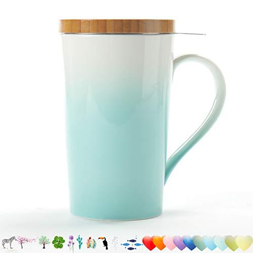TEANAGOO EM066-G Teetasse mit Filter und Deckel, 510 ml, Grün, Mom Dad Frauen-Infuser, Becher-Steeper-Hersteller, Brauen-Sieb-Loose Leaf-Tee, Diffusorbecher für Liebhabergeschenk Teetasse