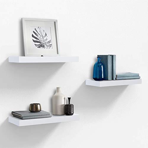 AHDECOR Wandregal Wandboards 3er Set Schwimmende Regal Holz für Wohnzimmer Schlafzimmer Büro oder Küche,Weiß