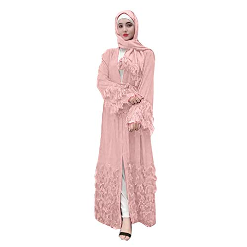 Learn More About Women Muslim Tassel V Neck Long Sleeve Arab Isalamic Maxi Dress Kaftan Pink