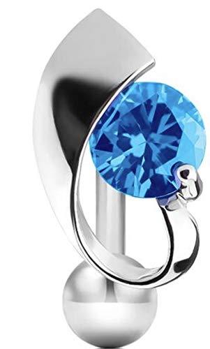 Pegasus Body Jewellery Bauchnabelpiercing, verdreht, nicht baumelnd, Aquablau