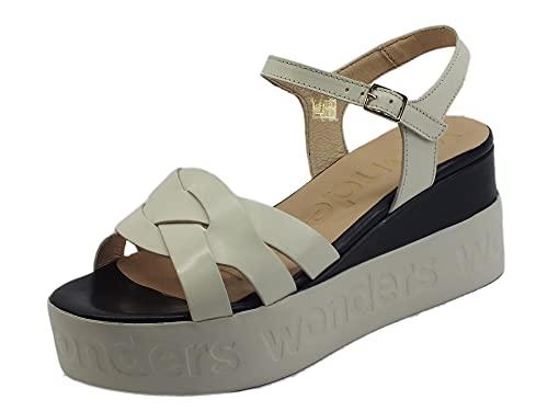 Wonders D7511 Pergamena Off - Sandalias con cuña mediana para mujer, de piel blanca Blanco Size: 38 EU