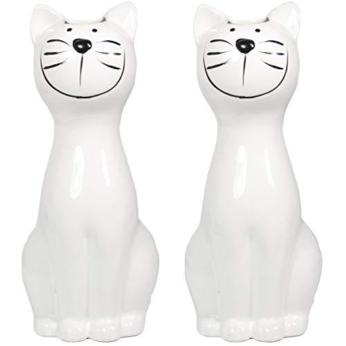 My-goodbuy24 Luftbefeuchter 2-teiliges Set - Katze - für Heizung aus hochwertigem Dolomit Luftreiniger Wasserverdunster Verdamper verdunster Klima in weiß