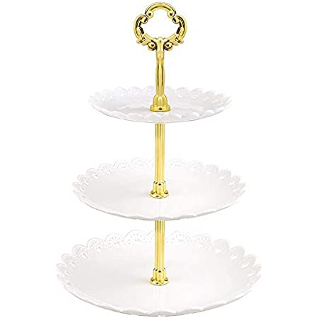 FDSHIP Cake Stand Candy Fruits Cakes Desserts Plate Stands for Wedding Party Cupcake Fruit Plate Stand (White Gold)