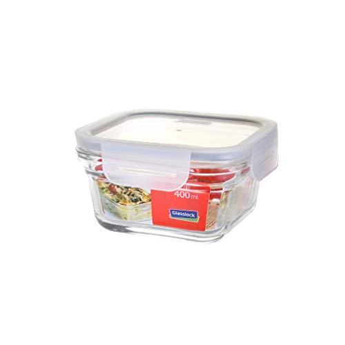 GLASSLOCK ofengeeignete (bis 230°C, ohne Deckel) Vorratsdosen aus temperiertem Glas mit Clip-Verschlussdeckel, Fancy Line, 400ml, quadratisch, OCST-040F