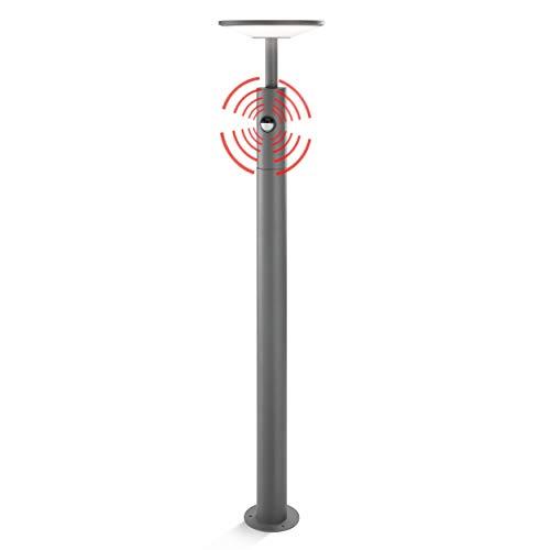 Moderne LED Sensor Wegeleuchte Lichtfarbe warmweiß 3000K, Leistung 15 Watt 900 lm, Einstellbarer Bewegungsmelder max. 10m Reichweite, (D x H): 21 x 100cm Pollerleuchte Außenleuchte esotec 201177