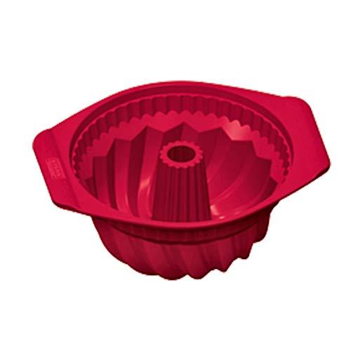 Kaiser Flexo Gugelhupfform 22 cm, Silikon Gugelhupf Backform rund rot, Kuchenform antihaftbeschichtet, gefriergeeignet, mikrowellengeeignet