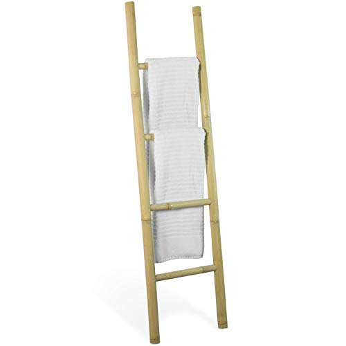 Decorative 5-Foot Natural Beige Bamboo Wall-Leaning Towel Ladder/Rack - Made in Indonesia