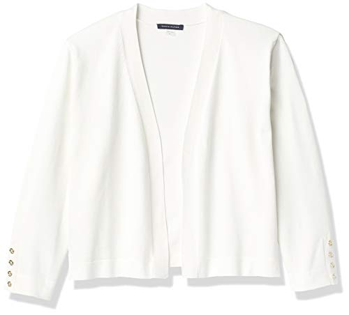 Tommy Hilfiger Women's Button Sleeve Shrug, Ivory, Small