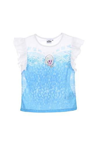 Disney die Eiskönigin Shorty Kurzarm Schlafanzug Glitzer mit über Röckchen Weiß 104 (4 Jahre)