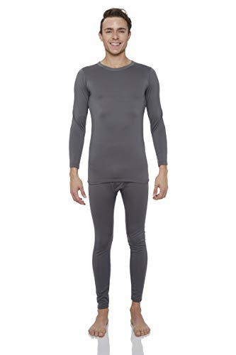 Rocky Thermal Underwear for Men Midweight Fleece Lined Thermals Men's Base Layer Long John Set (Charcoal - Midweight (Fleece) - X-Large)