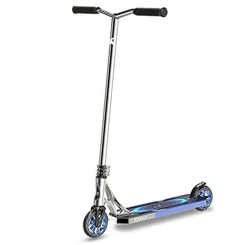 XSKIP Patinete Pro Scooter Truco para adolescentes, niños y adultos, con ruedas de núcleo de aluminio de 120 mm, altura total de 36 pulgadas, color azul