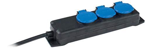 as - Schwabe 3-fach Verteilersteckdosenleiste – Outdoor-Mehrfachstecker mit 1,5 m Leitung – Mehrfachsteckdosen 230 V / 16 A Klappdeckel und Wandbefestigung – IP44 – Schwarz I 38601