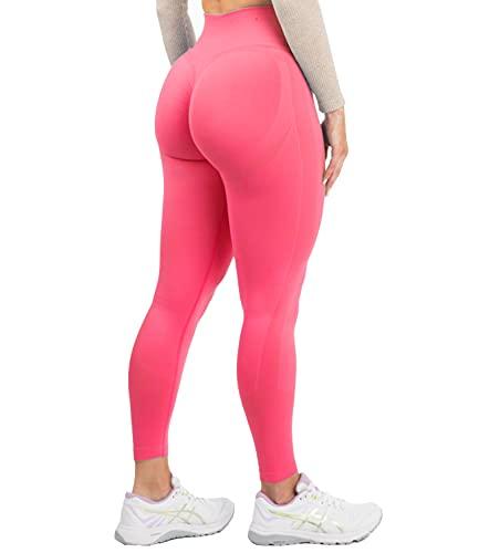 DUROFIT Leggings Sportivi da Donna Push up Pantaloni Anticellulite Vita Alta Yoga Pants Elastico Fitness Palestra Calzamaglie e Leggings Sportivi Rosa S