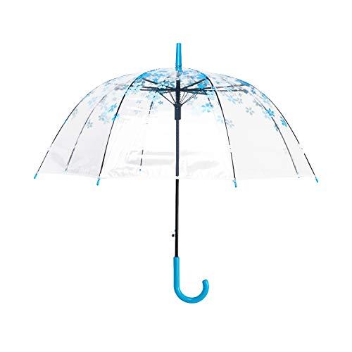 Lanker Paraguas transparente, claro burbuja cúpula Birdcage Stick Umbrella a prueba de...