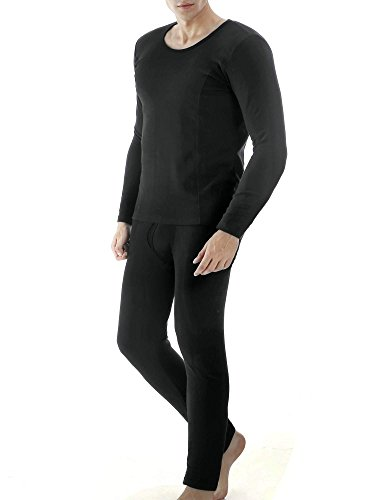 Ekouaer Men's Thermal Wear Winter Long Johns Warm Pajama Set Plus Size(Black,Large)