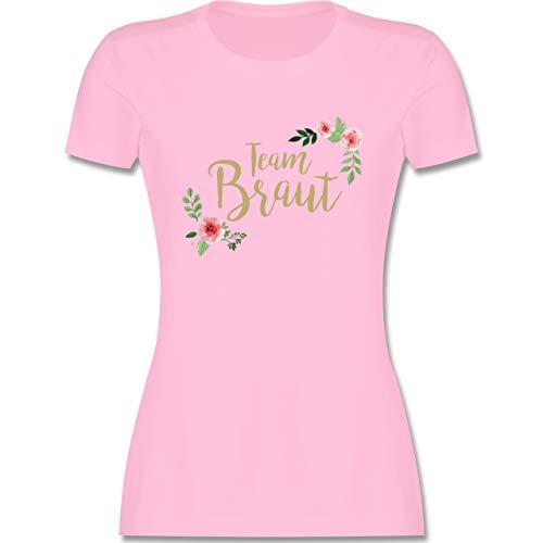 JGA Junggesellenabschied Frauen - Team Braut Blumen - S - Rosa - Tshirt junggesellenabschied Damen - L191 - Tailliertes Tshirt für Damen und Frauen T-Shirt