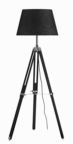 Lámpara de pie de madera, trípode de lectura, lámpara de pie negra para salón, dormitorio, oficina, estilo escandinavo, 160 cm de altura