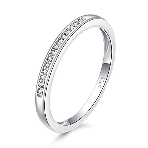 CERSLIMO Anillo de plata para mujeres y niñas, anillo de plata de ley S925 con circonita cúbica para boda, compromiso, regalo de joyería, tamaño 5-9 (K, M, O, Q, S), Circonita cúbica,