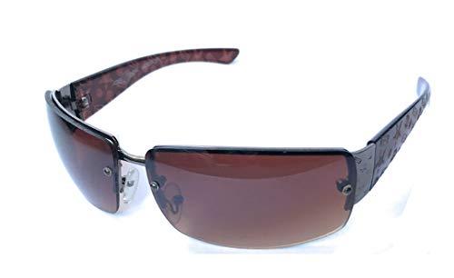 Gafas de sol de diseñador sin montura retro de estilo vintage (marrón)