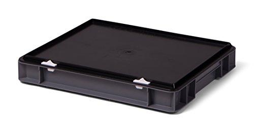 Euro-Transport-Stapelbox/Lagerbehälter, grau, mit schwarzem Verschlußdeckel, 400x300x61 mm (LxBxH), Wände u. Boden geschlossen, aus PPN