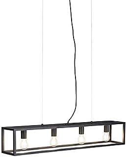 Qazqa Salle a manger suspension | Lampe suspendue | Éclairage suspendu Industriel - Cage Lampe Noir - E27 - Convient pour ...