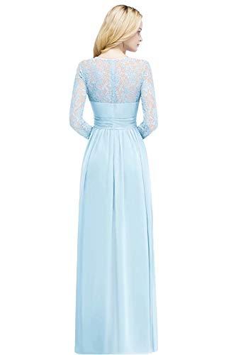 Babyonlinedress® Damen Maxikleider Langarm Spitzen Plissee Brautjungfernkleid Kleider A Linie Kleid Ballonkleid Hoher Taille Himmel Blau